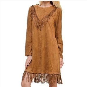 Dresses & Skirts - Suede long sleeve shirt dress